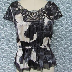 LEIFSDOTTIR Silk Abstract Cap Sleeve Top